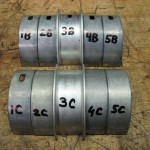 All bearings labeled before measuring clearances and final assembly